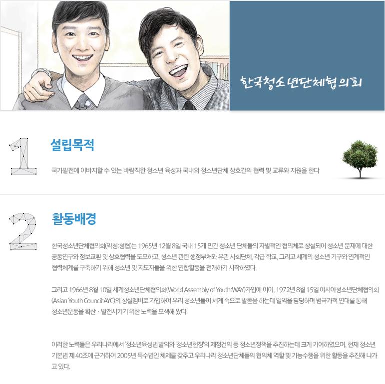 한국청소년단체협의회 설립목적,활동배경 내용 아래 참조